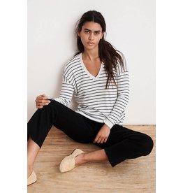 Velvet Velvet Modesty Rib Stripe Long Sleeve V