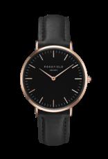 Rosefield Rosefield Bowery - 38mm Black/Rose/Black Leather Watch