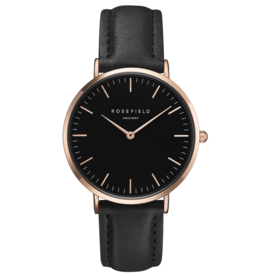 Rosefield Rosefield Bowery - 38mm Black/Rose/Black Leather Watch