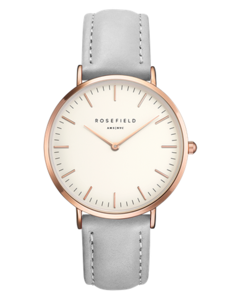Rosefield Rosefield Bowery - 38mm Grey Leather Gold Watch