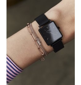 Rosefield Rosefield The Boxy Black Mesh Watch
