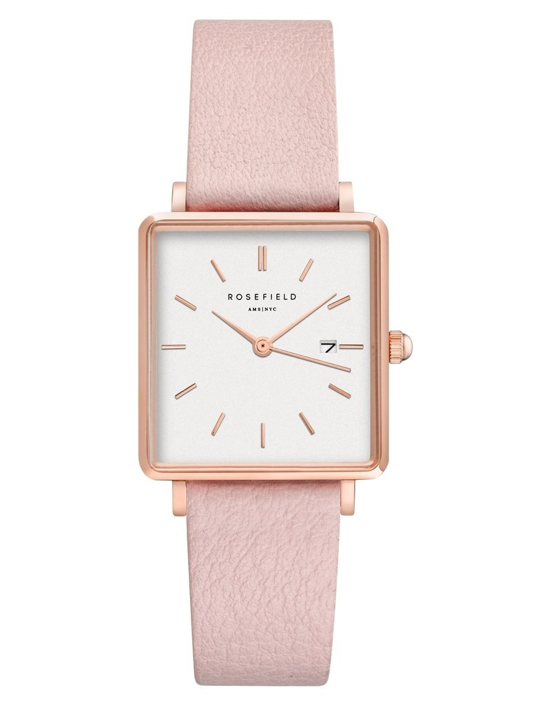 Rosefield Rosefield The Boxy Blush Leather Watch
