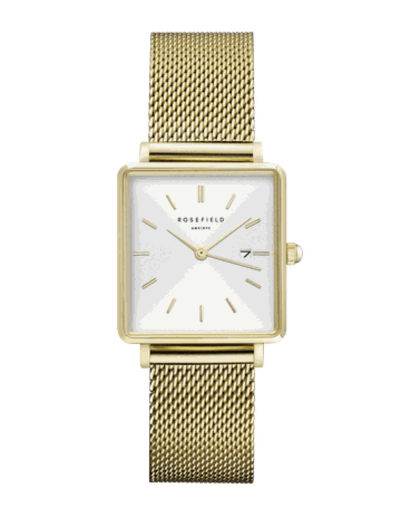 Rosefield Rosefield The Boxy Gold/White Mesh Watch