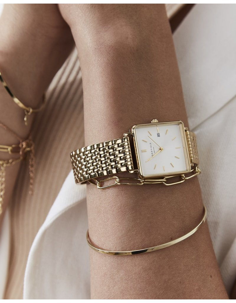 Rosefield Rosefield The Boxy Gold/White Sunray Watch