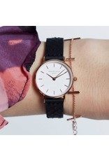Rosefield Rosefield The Small Edit Black/White Leather Watch