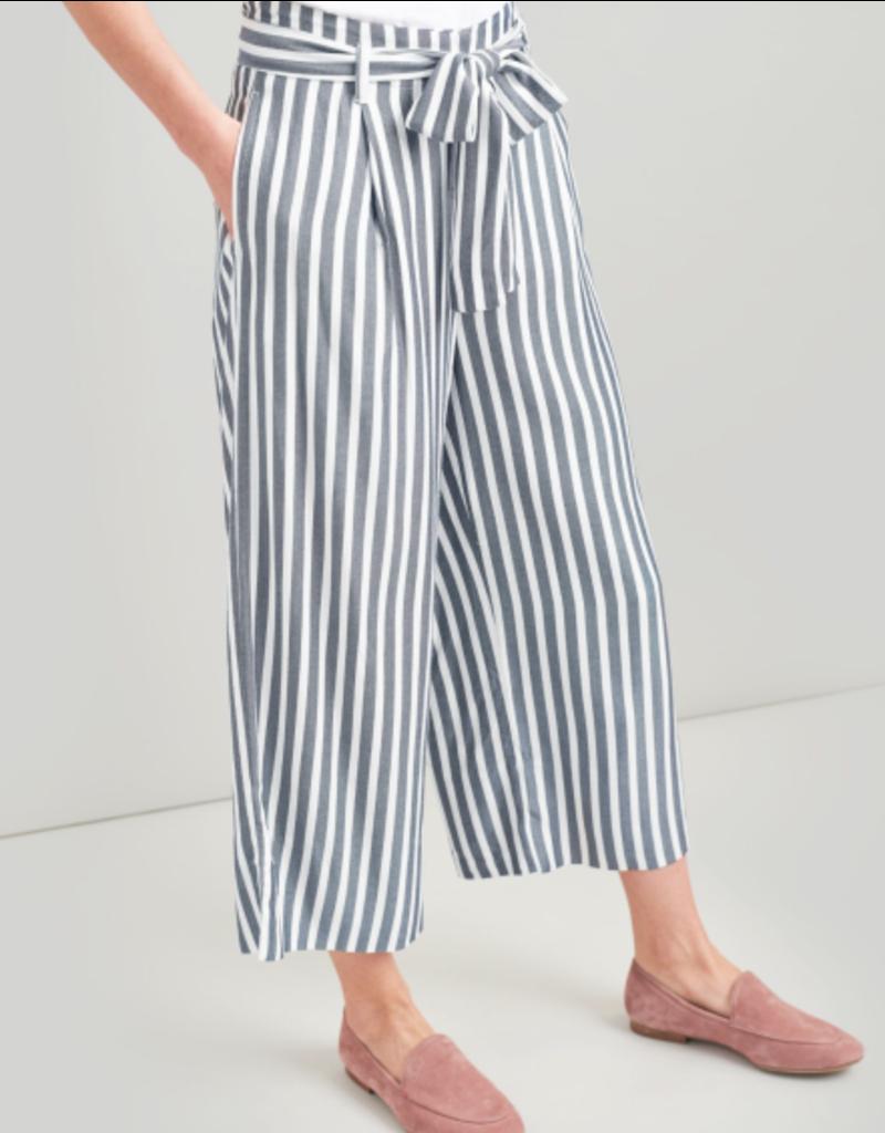 Joules Joules Drew Navy Chalk Stripe Wide Crop Trouser