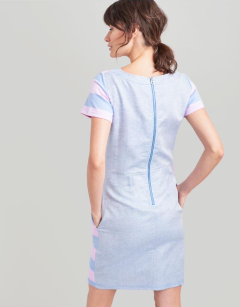 Joules Joules Ottie Blue Pink Stripe Dress