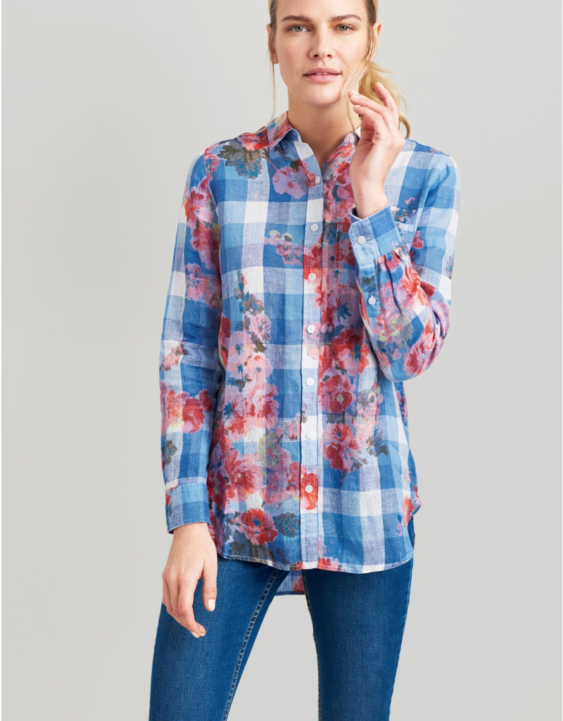 Joules Joules Jeanne Print Blue Gingham Floral Print Linen Blouse