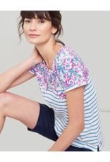 Joules Joules Nessa Print Blue Stripe Floral Border Tee