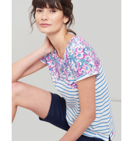 Joules Joules Nessa Print Blue Stripe Floral Border Tee