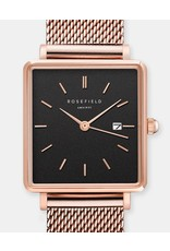 Rosefield Rosefield The Boxy Rose Gold/Black Mesh Watch