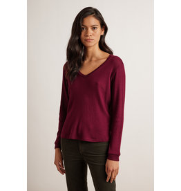 Velvet Velvet Kimberly Honeycomb Knit V Neck Sweater