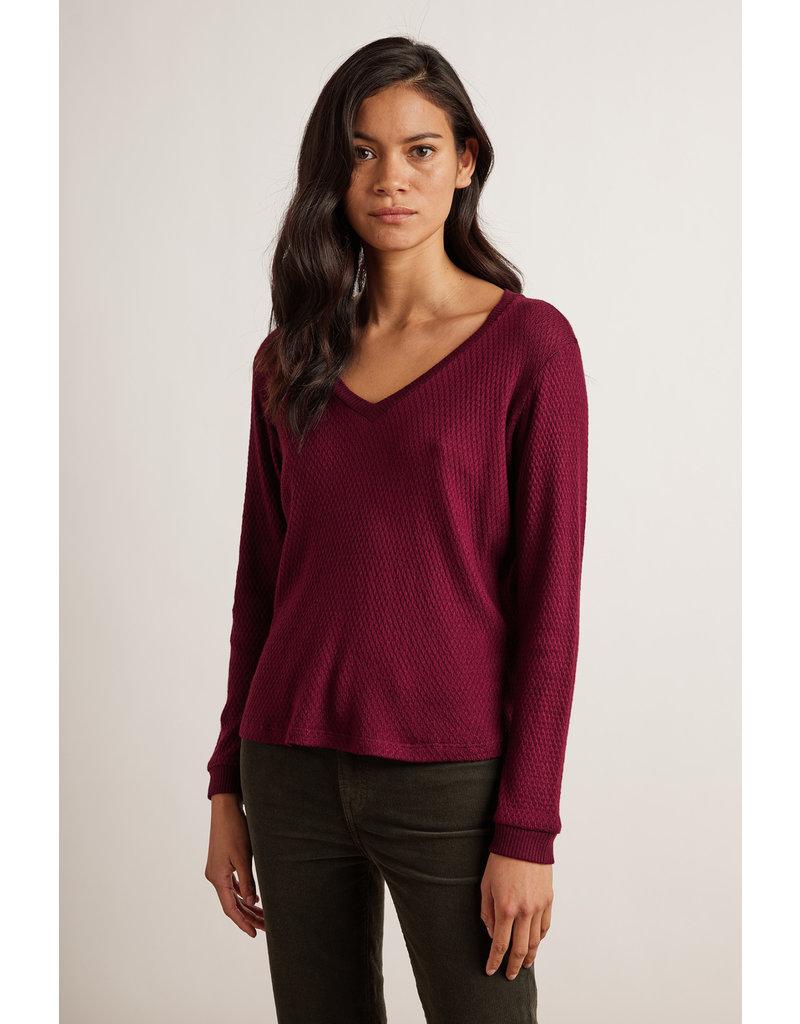 Velvet Velvet Kimberly Honeycomb Knit V Neck Sweater
