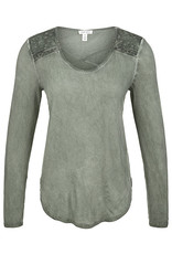 Tribal Tribal Henley Top with Combo Detail