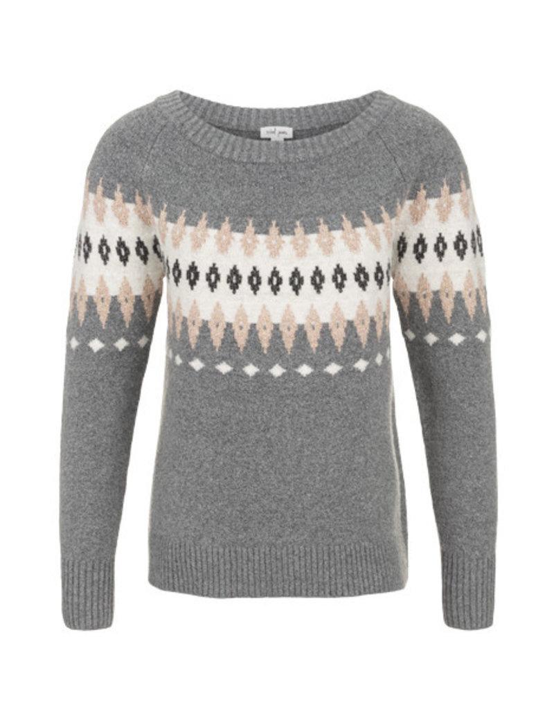 Tribal Tribal LS Jacquard Sweater