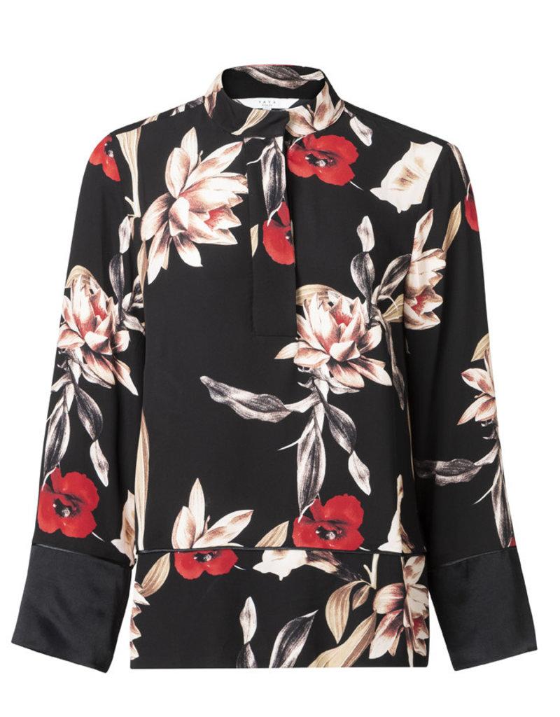 Yaya Yaya Floral Kimono Sleeve Blouse