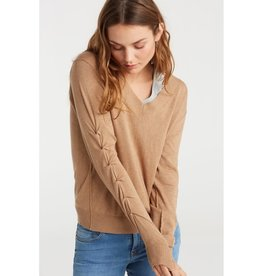 Yaya Yaya Ruched Sleeve Sweater