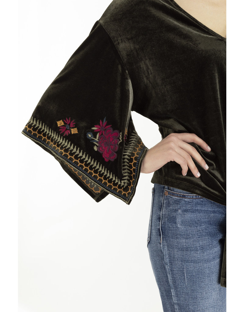 Tribal Tribal Embroidered Kimono Top