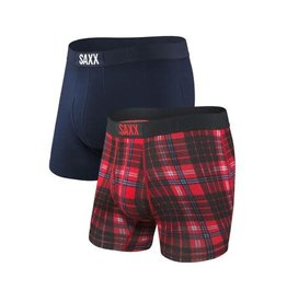 Saxx Saxx Ultra Boxer Brief 2 Pack - Red Tartan/Navy