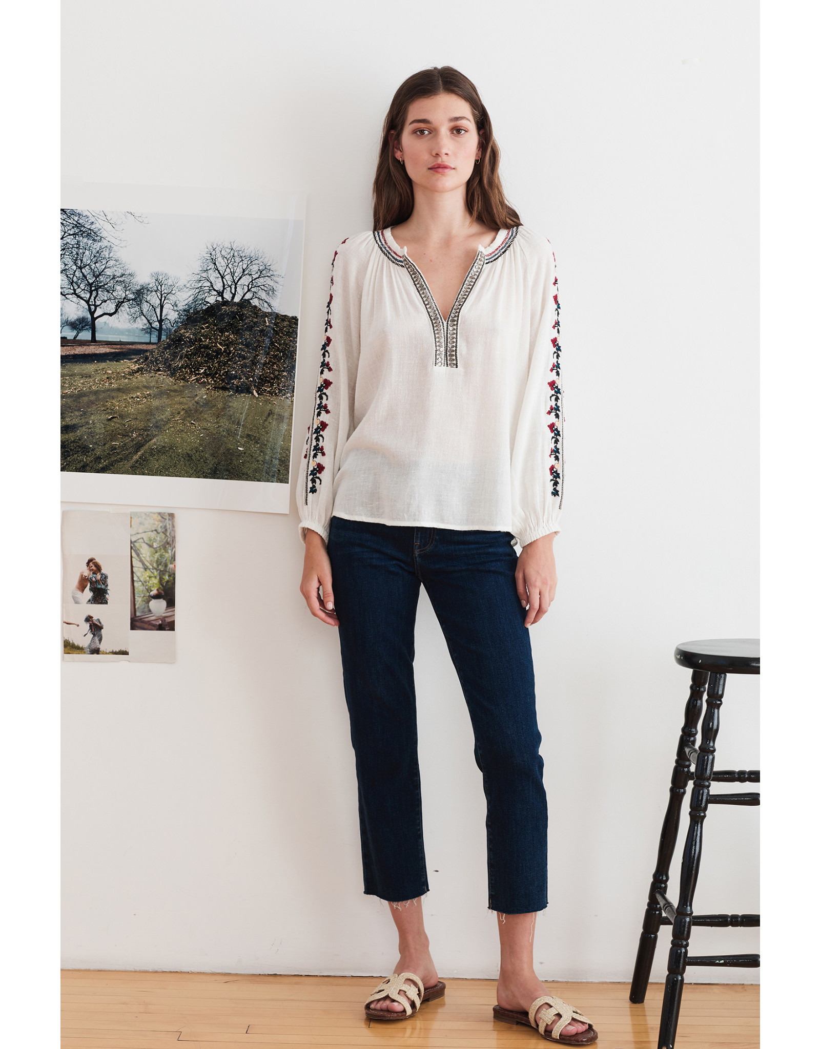Velvet Velvet Flores Hunter Embroidery LS Blouse