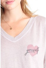 Good hYOUman Good hYOUman Carrie Heart Yourself LS V Neck
