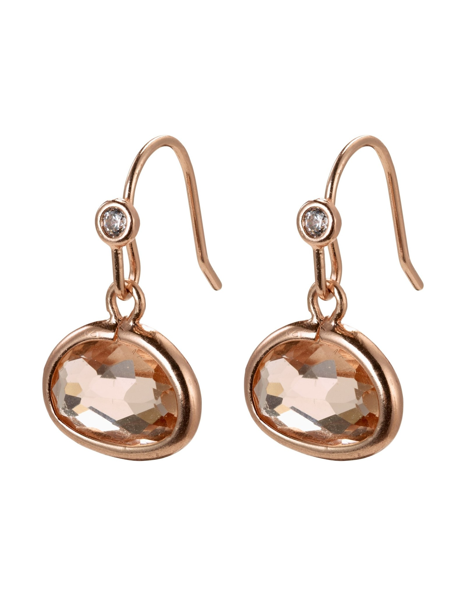 Pilgrim Pilgrim Air Earrings Rose Gold Plated Brown