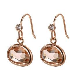 Pilgrim Air Earrings Rose Gold Plated Brown