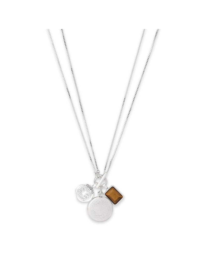Pilgrim Verdandi Necklace II Silver Plated Brown