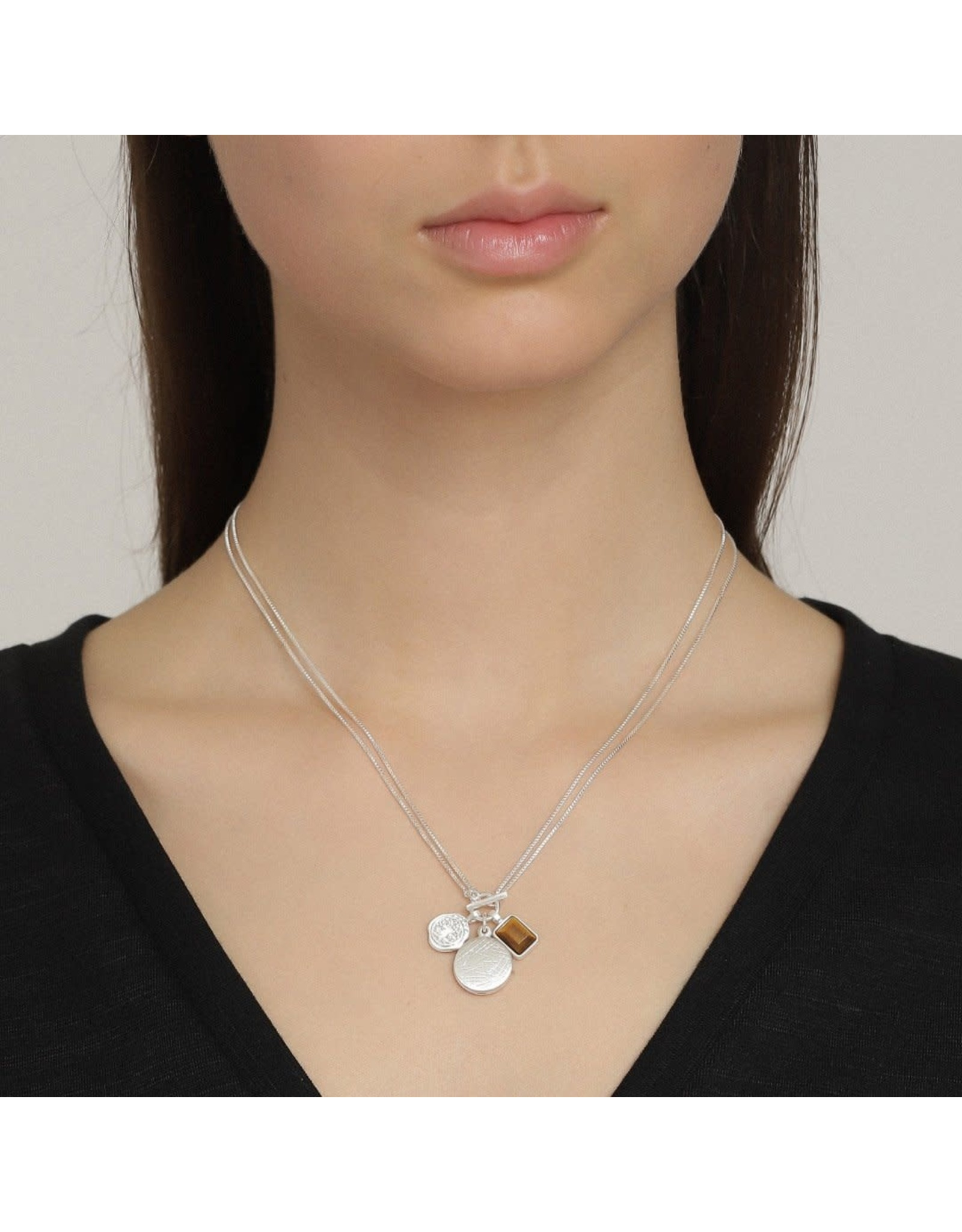 Pilgrim Pilgrim Verdandi Necklace II Silver Plated Brown