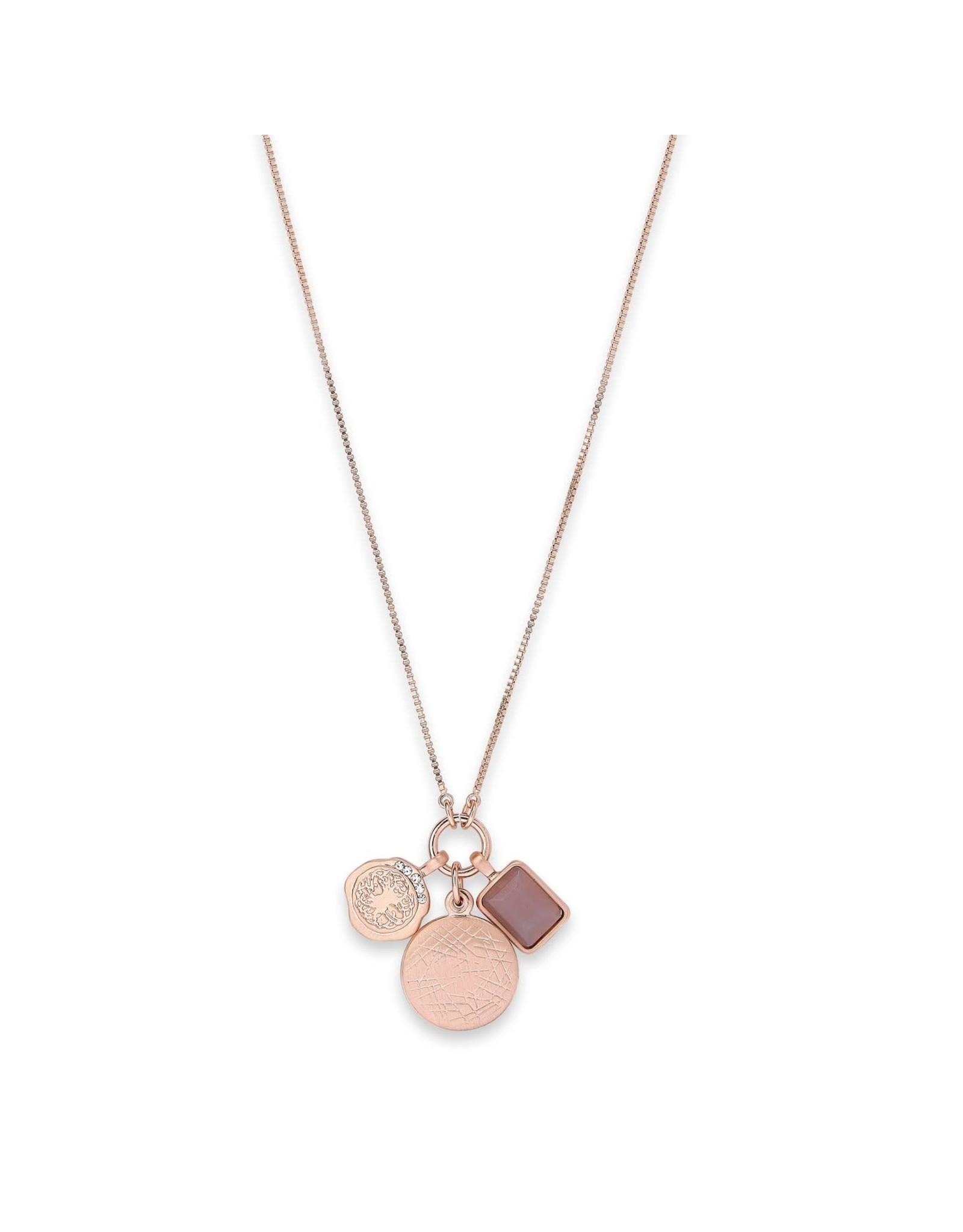 Pilgrim Verdandi Necklace Rose Gold Plated Grey II