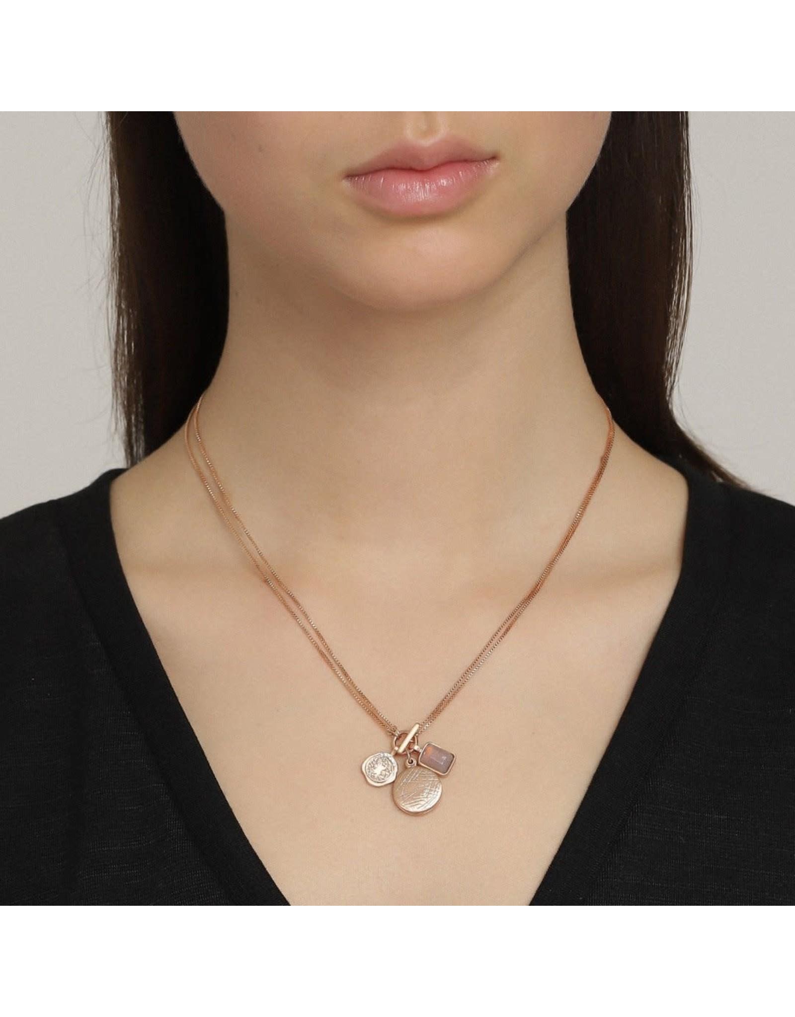 Pilgrim Pilgrim Verdandi Necklace Rose Gold Plated Grey II