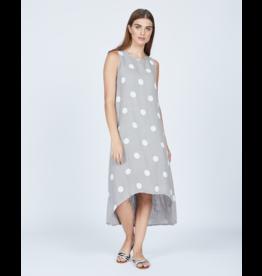 Pistache Linen Polka Dot Long Dress