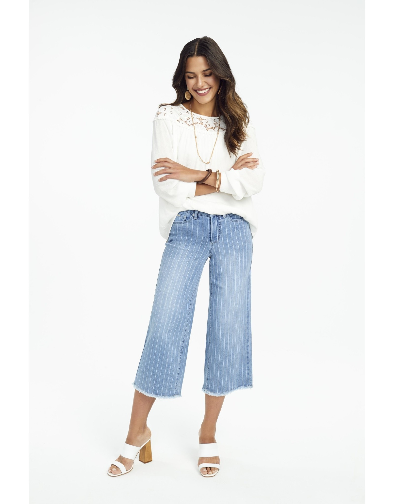French Dressing Jeans French Dressing Jeans Solid Romantic Lace Trim Blouse