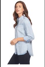 French Dressing Jeans French Dressing Jeans Linen Blend Chambray Blouse