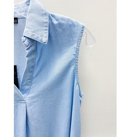 Renuar Tencel Sleeveless Chambray Blouse