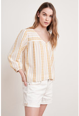 Velvet Velvet Winter Stripe Jacquard V-Neck Top