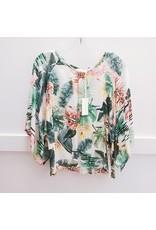 Stark Leaf Print Kimono Top