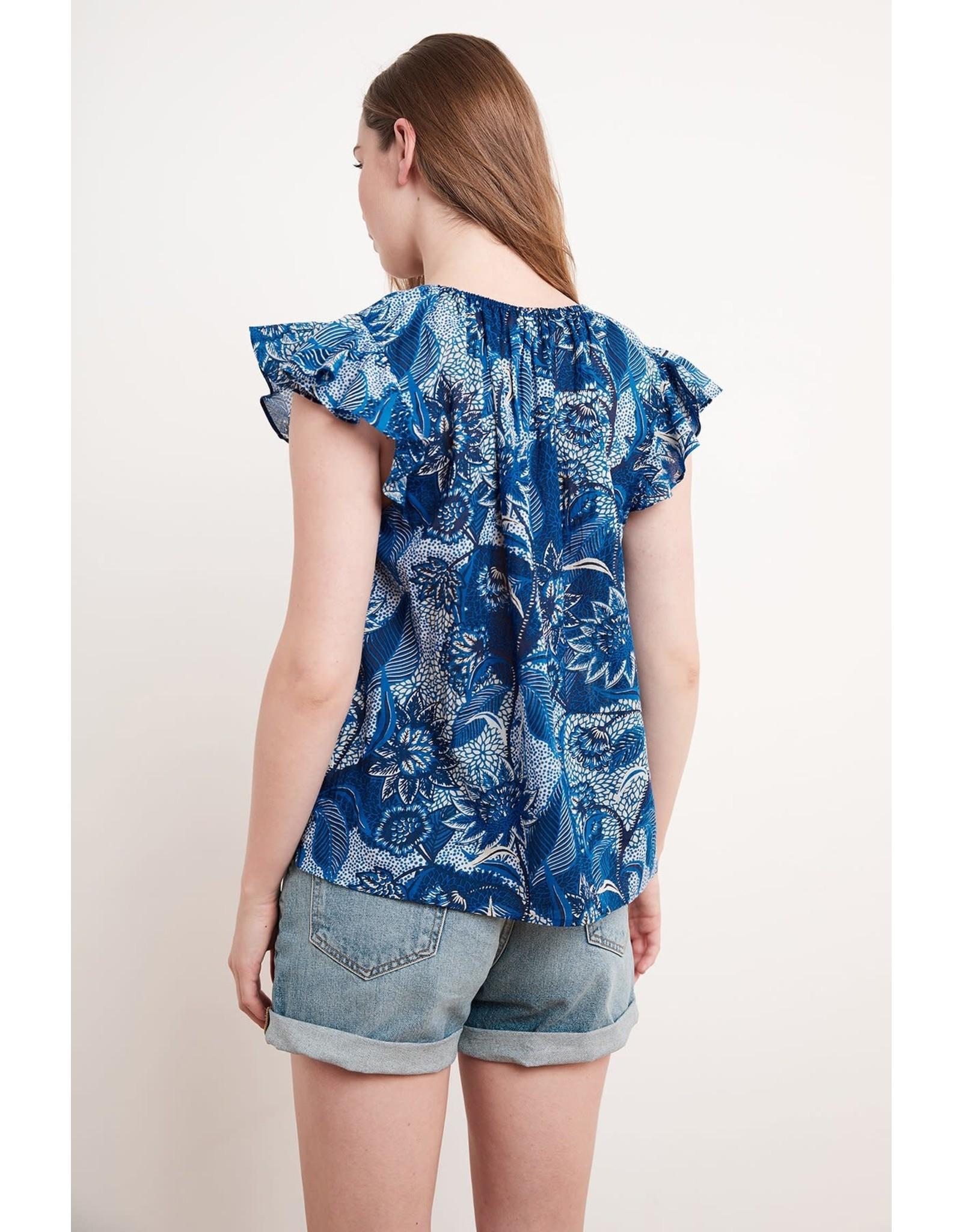 Velvet Velvet Yuelle Printed Cotton Voile Cap Sleeve Top