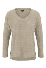 Tribal Tribal LS V Neck Top Side Buttons