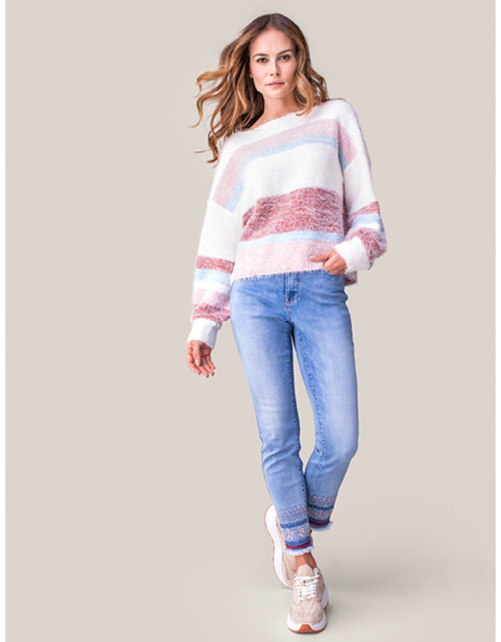 Tribal Tribal Striped Boatneck Sweater