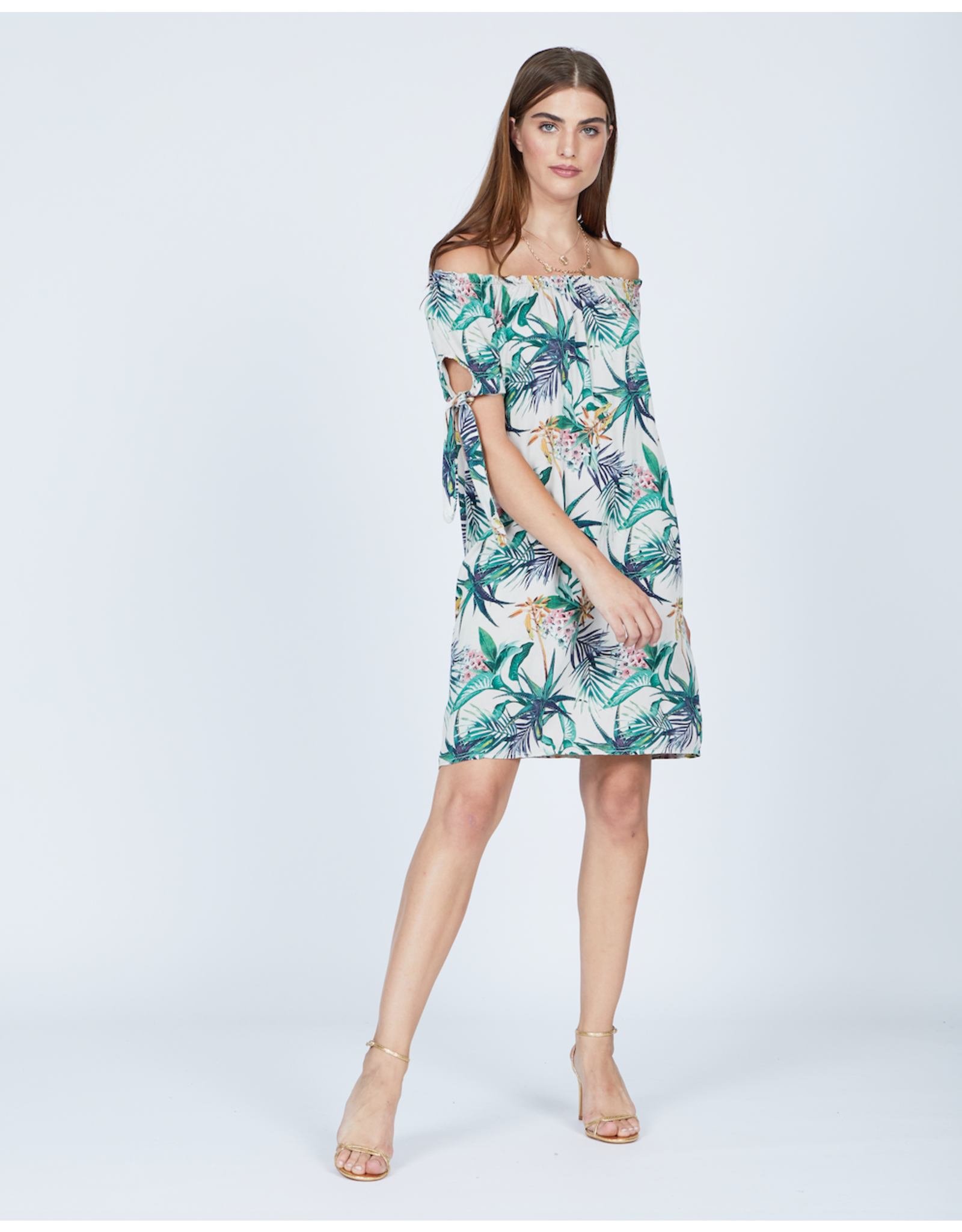 Pistache Bamboo Leaf Print Dress - XL ONLY