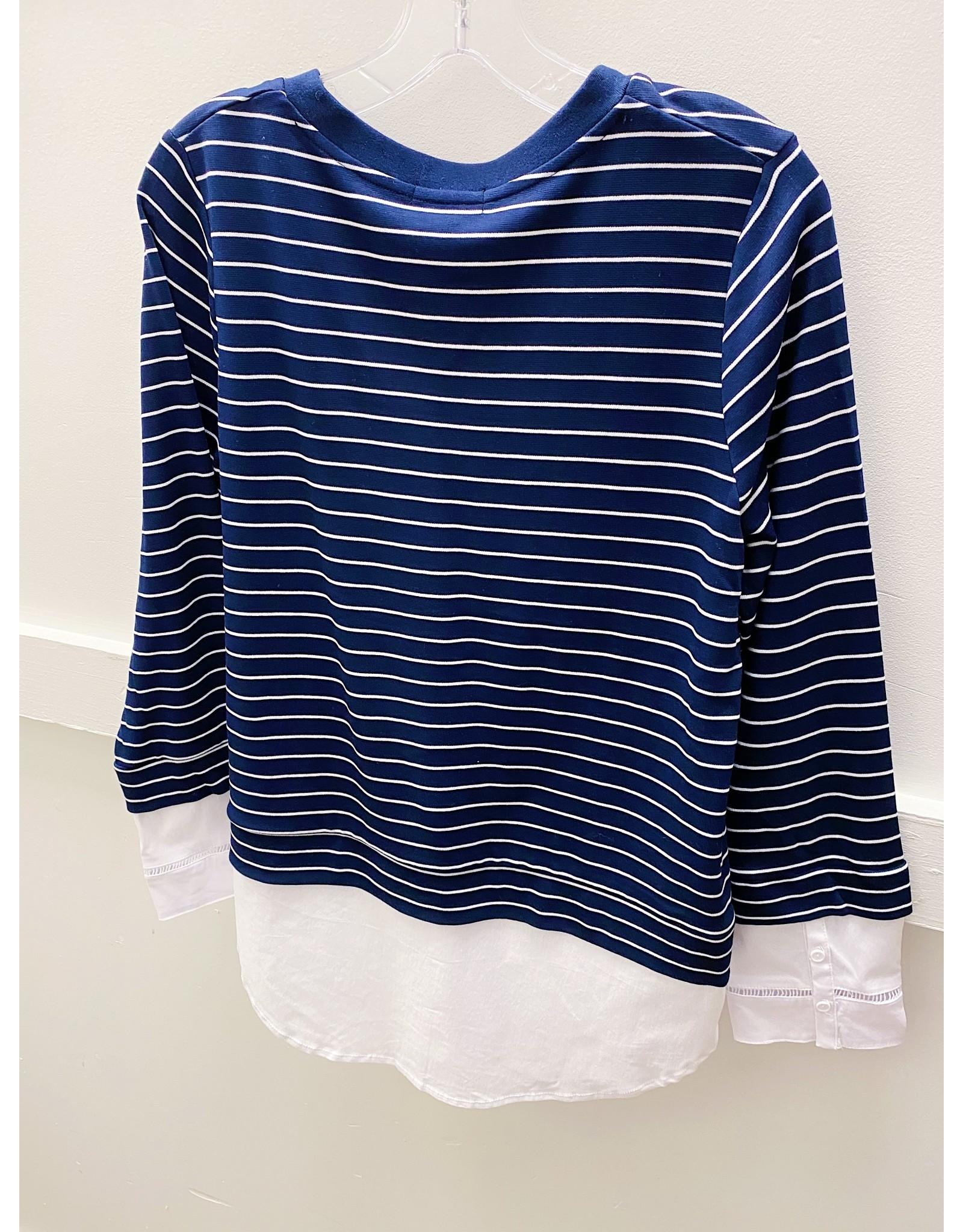 Renuar Stripe Knit Top - SMALL