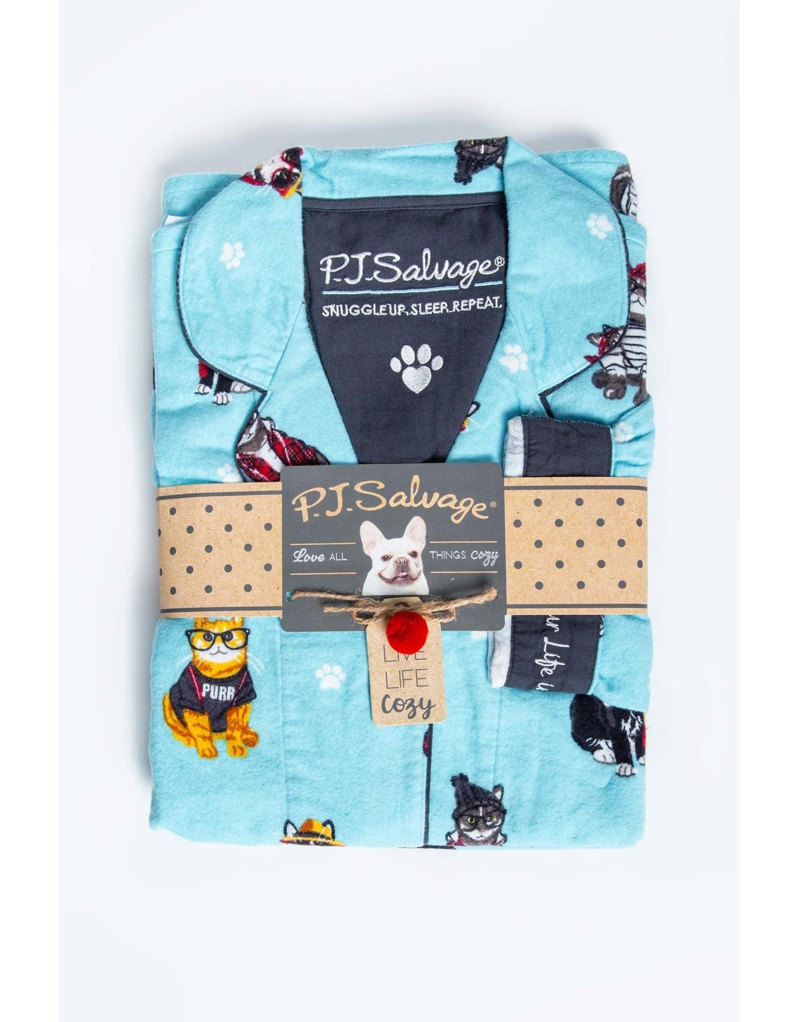 PJ Salvage PJ Salvage Cool Cats Flannel PJ Set