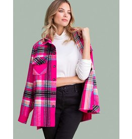 Tribal Tribal Pink Plaid Shirt Jacket