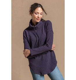 Lilla P Lilla P Dropped Shoulder Waffle Cowl Neck Top