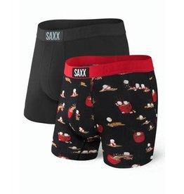 Saxx Saxx Vibe Boxer Brief 2 Pack - Black/Hot Cocoa Hot Tub