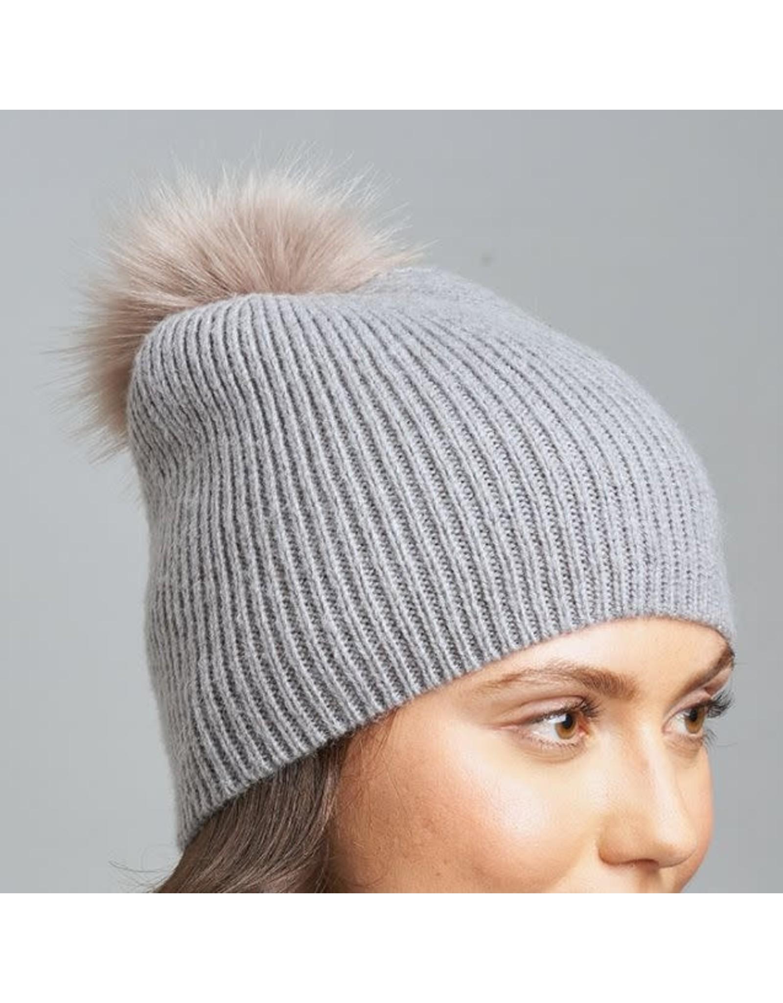 Lemon Fluffy Rib Hat with Pom Pom