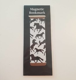 Magnetic Bookmark White with Black Horses