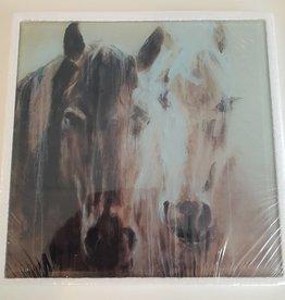 Glass Wall Hanging - Horses - 25.5 cm x 25.5cm