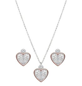 Montana Silversmiths Western Lace Copper Trimmed Classic Heart Jewellery Set
